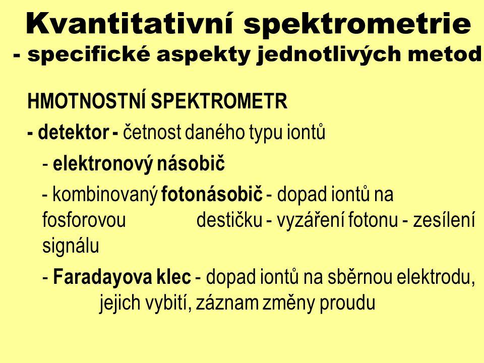 Kvantitativní spektrometrie - specifické aspekty jednotlivých metod HMOTNOSTNÍ SPEKTROMETR - detektor - četnost daného typu iontů - elektronový násobi