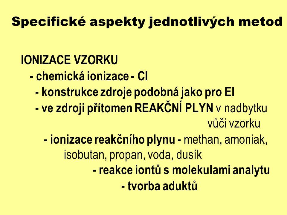 Specifické aspekty jednotlivých metod IONIZACE VZORKU - chemická ionizace - CI - základní mechanismy ion-molekulárních reakcí R + e - R + + 2 e - (ionizace reakčního plynu) R + R + [R-H] + [R+H] + (ion-mol.