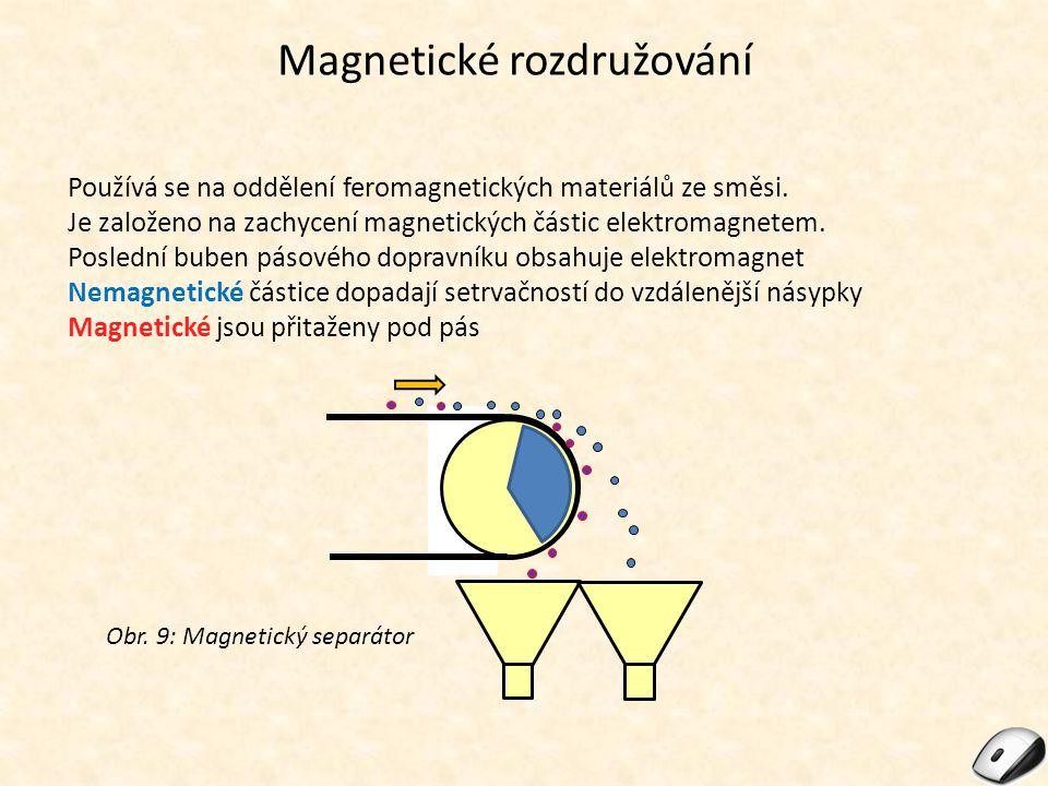 Magnetické rozdružování Používá se na oddělení feromagnetických materiálů ze směsi. Je založeno na zachycení magnetických částic elektromagnetem. Posl