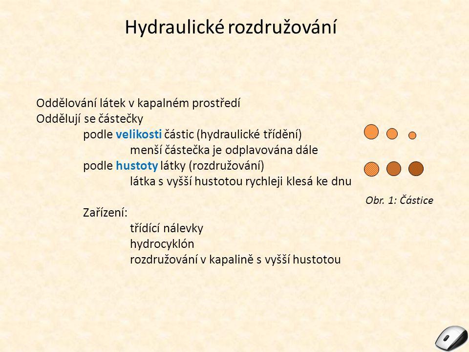 Hydraulické rozdružování Oddělování látek v kapalném prostředí Oddělují se částečky podle velikosti částic (hydraulické třídění) menší částečka je odp