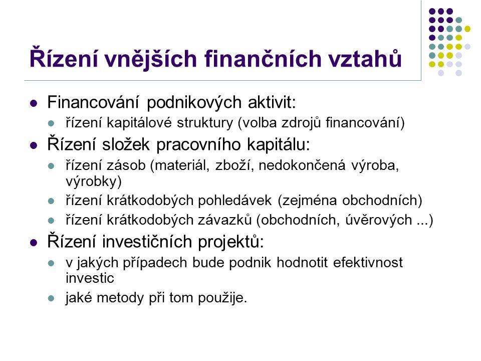 Řízení vnějších finančních vztahů Financování podnikových aktivit: řízení kapitálové struktury (volba zdrojů financování) Řízení složek pracovního kapitálu: řízení zásob (materiál, zboží, nedokončená výroba, výrobky) řízení krátkodobých pohledávek (zejména obchodních) řízení krátkodobých závazků (obchodních, úvěrových...) Řízení investičních projektů: v jakých případech bude podnik hodnotit efektivnost investic jaké metody při tom použije.