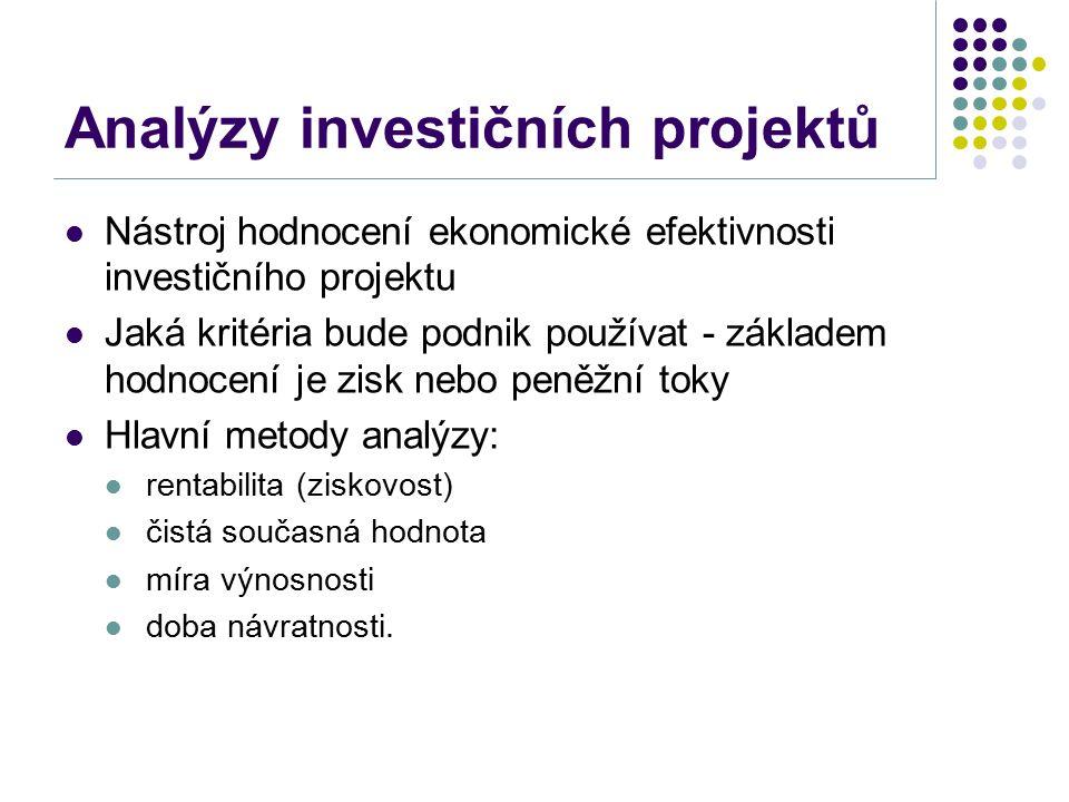 Analýzy investičních projektů Nástroj hodnocení ekonomické efektivnosti investičního projektu Jaká kritéria bude podnik používat - základem hodnocení je zisk nebo peněžní toky Hlavní metody analýzy: rentabilita (ziskovost) čistá současná hodnota míra výnosnosti doba návratnosti.