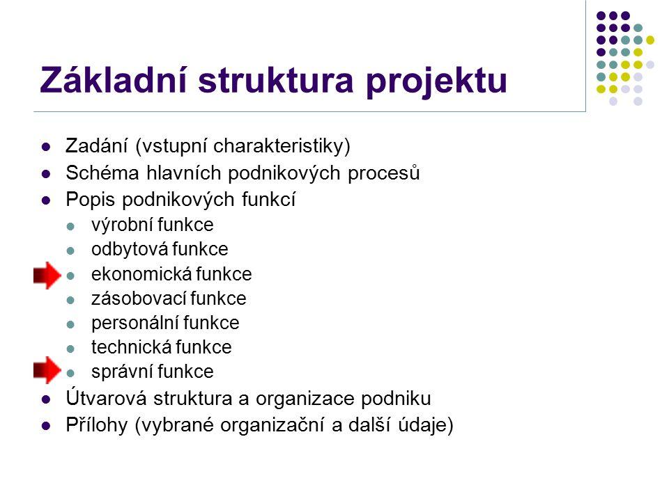 Ekonomická funkce Ekonomická funkce v projektu - uspořádání ekonomických procesů v podniku, zejména: průběh finančního plánování (strategického, taktického a operativního) řízení vnějších finančních vztahů (financování, řízení investičních projektů a složek pracovního kapitálu) řízení vnitřních ekonomických vztahů (ekonomická struktura, řízení nákladů a zisku) Důraz na procesní a organizační hledisko.
