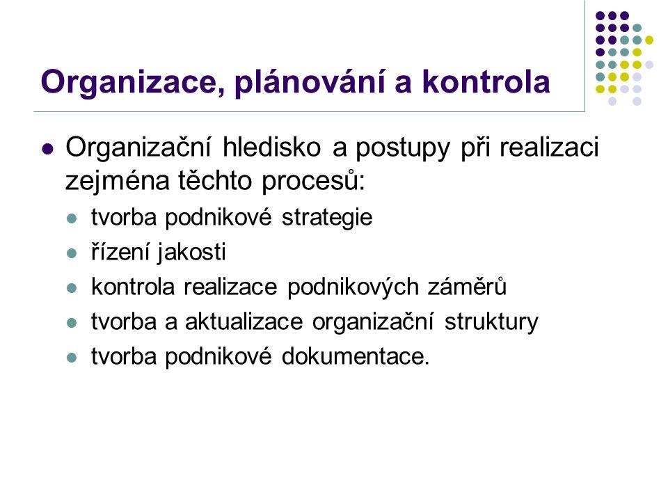 Organizace, plánování a kontrola Organizační hledisko a postupy při realizaci zejména těchto procesů: tvorba podnikové strategie řízení jakosti kontrola realizace podnikových záměrů tvorba a aktualizace organizační struktury tvorba podnikové dokumentace.