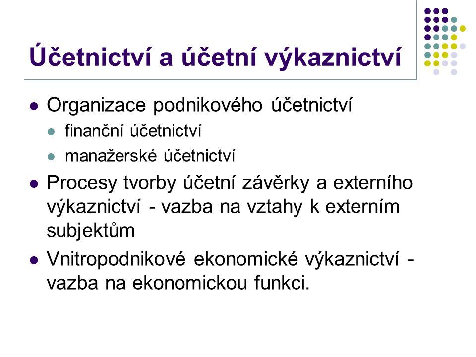 Účetnictví a účetní výkaznictví Organizace podnikového účetnictví finanční účetnictví manažerské účetnictví Procesy tvorby účetní závěrky a externího výkaznictví - vazba na vztahy k externím subjektům Vnitropodnikové ekonomické výkaznictví - vazba na ekonomickou funkci.