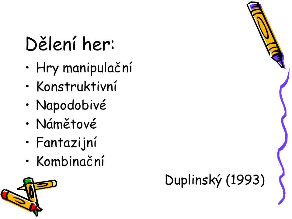 Dělení her: Hry manipulační Konstruktivní Napodobivé Námětové Fantazijní Kombinační Duplinský (1993)