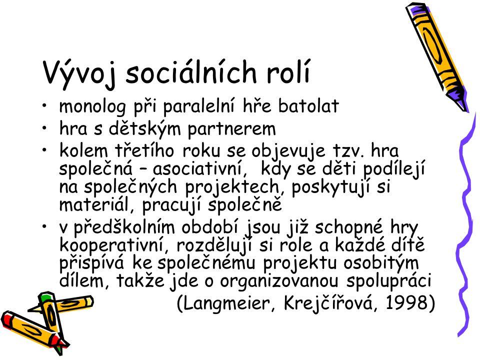 Vývoj sociálních rolí monolog při paralelní hře batolat hra s dětským partnerem kolem třetího roku se objevuje tzv. hra společná – asociativní, kdy se
