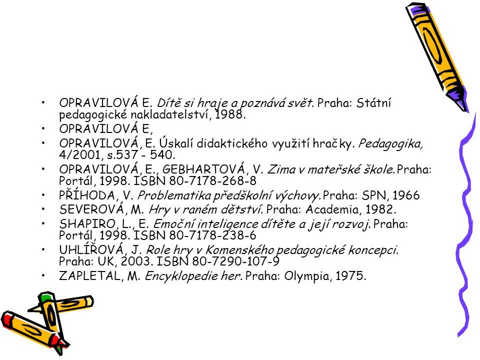 OPRAVILOVÁ E. Dítě si hraje a poznává svět. Praha: Státní pedagogické nakladatelství, 1988. OPRAVILOVÁ E, OPRAVILOVÁ, E. Úskalí didaktického využití h