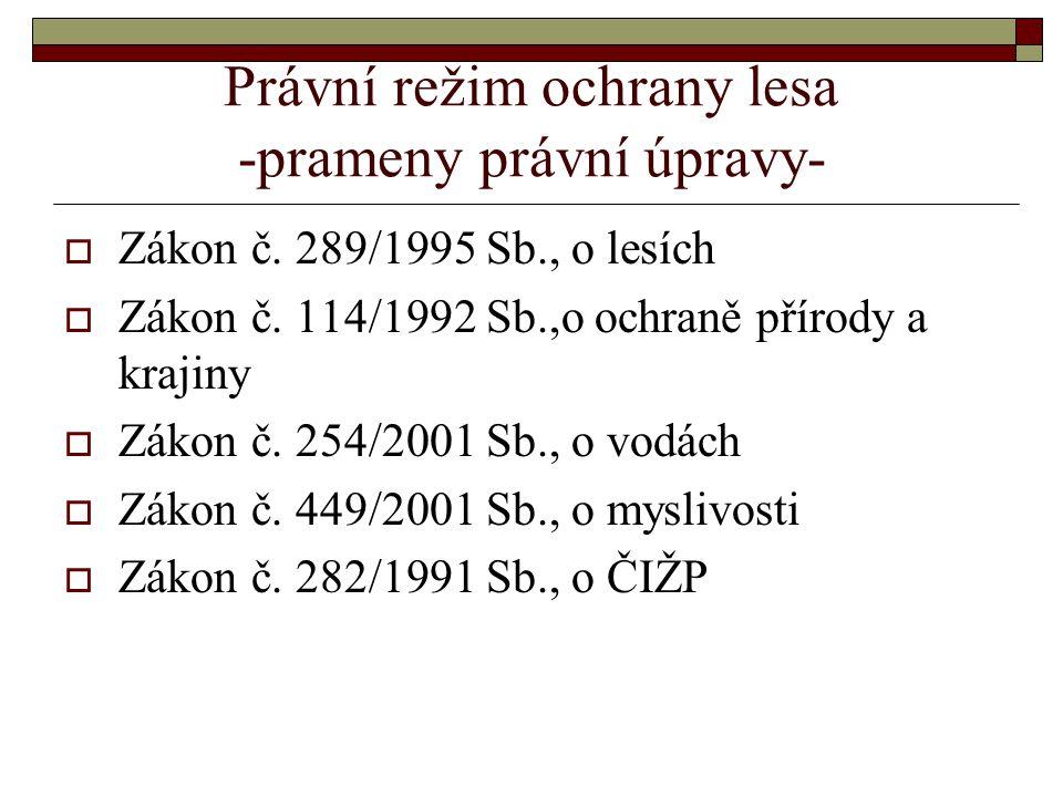 Právní režim ochrany lesa -prameny právní úpravy-  Zákon č.