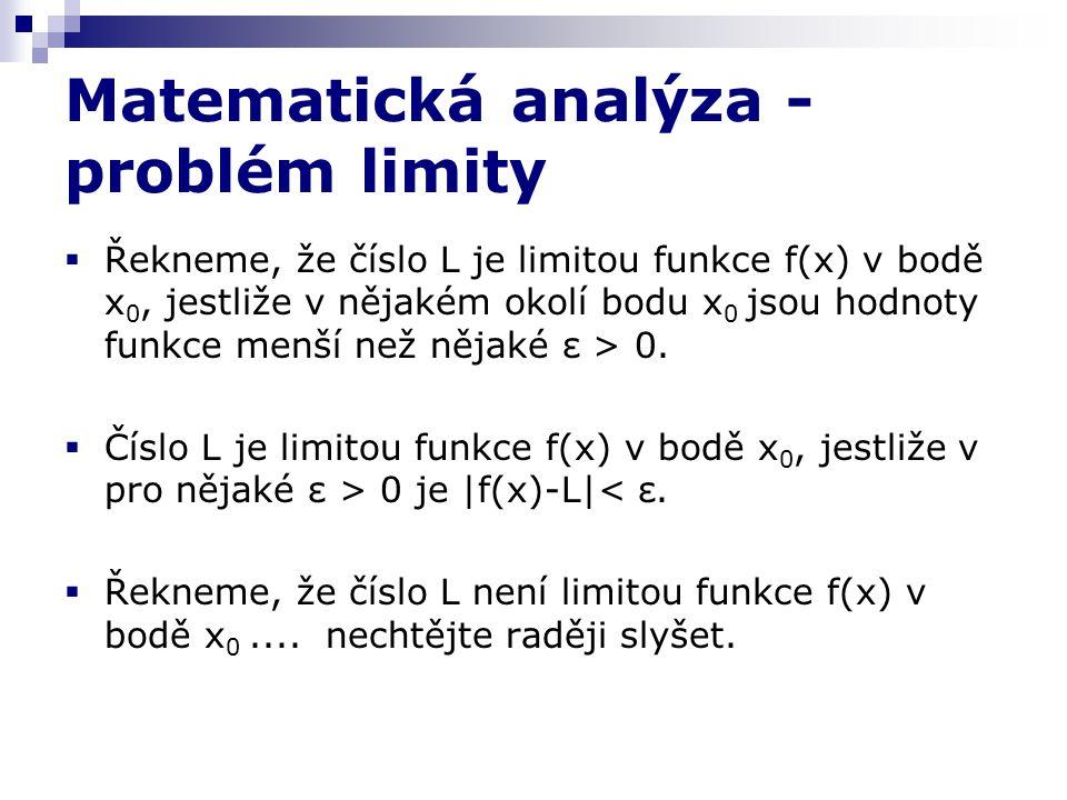 Matematická analýza - problém limity  Řekneme, že číslo L je limitou funkce f(x) v bodě x 0, jestliže v nějakém okolí bodu x 0 jsou hodnoty funkce menší než nějaké ε > 0.