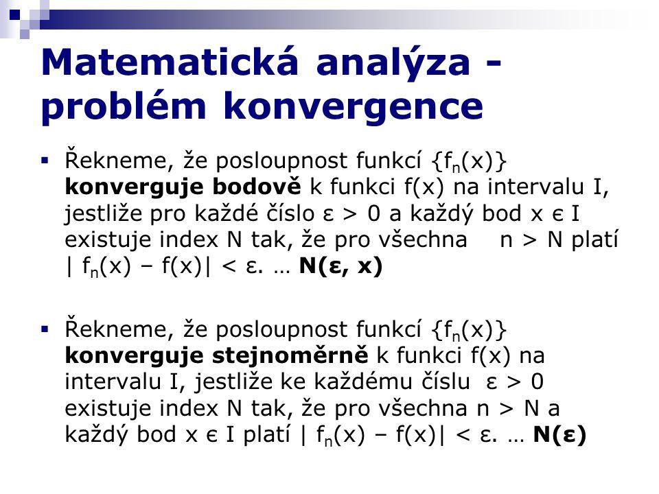 Matematická analýza - problém konvergence  Řekneme, že posloupnost funkcí {f n (x)} konverguje bodově k funkci f(x) na intervalu I, jestliže pro každé číslo ε > 0 a každý bod x є I existuje index N tak, že pro všechna n > N platí | f n (x) – f(x)| < ε.