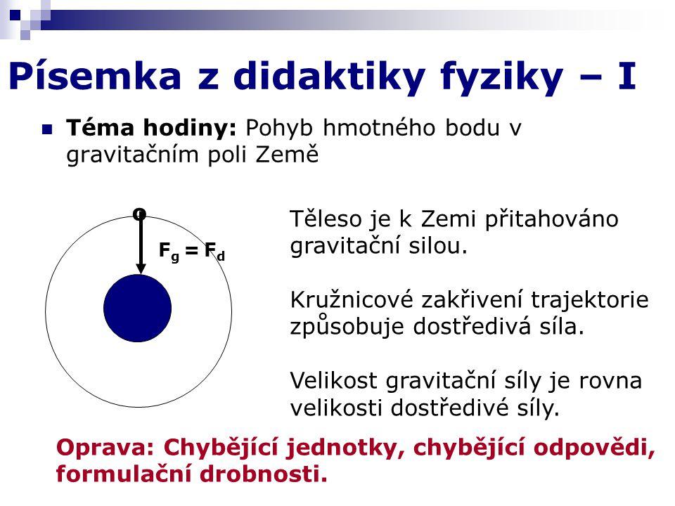 Písemka z didaktiky fyziky – I Téma hodiny: Pohyb hmotného bodu v gravitačním poli Země o F g = F d Těleso je k Zemi přitahováno gravitační silou.