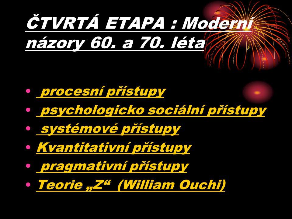 ČTVRTÁ ETAPA : Moderní názory 60. a 70. léta procesní přístupy psychologicko sociální přístupy systémové přístupy Kvantitativní přístupy pragmativní p