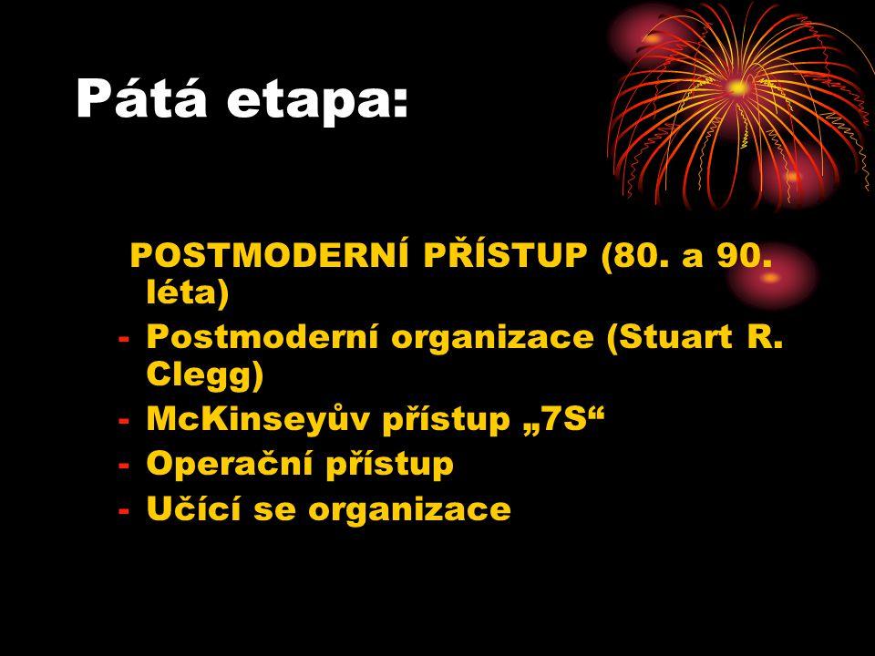 Pátá etapa: POSTMODERNÍ PŘÍSTUP (80. a 90. léta) -Postmoderní organizace (Stuart R.