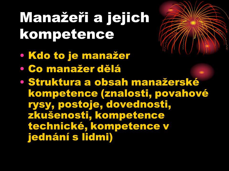 Manažeři a jejich kompetence Kdo to je manažer Co manažer dělá Struktura a obsah manažerské kompetence (znalosti, povahové rysy, postoje, dovednosti, zkušenosti, kompetence technické, kompetence v jednání s lidmi)