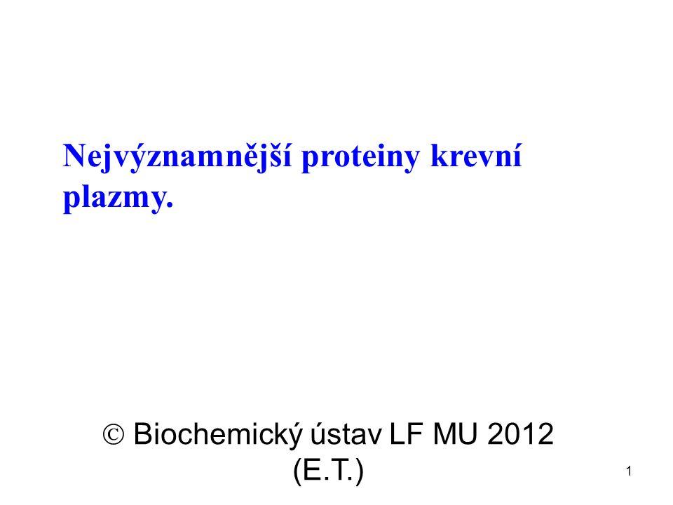 1 Nejvýznamnější proteiny krevní plazmy.  Biochemický ústav LF MU 2012 (E.T.)