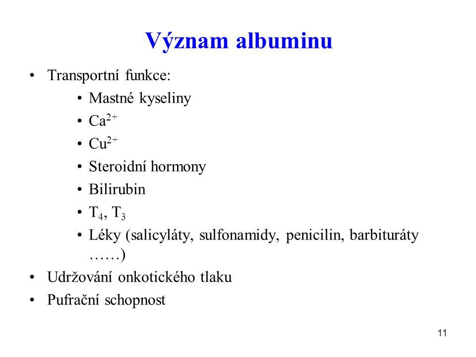 11 Význam albuminu Transportní funkce: Mastné kyseliny Ca 2+ Cu 2+ Steroidní hormony Bilirubin T 4, T 3 Léky (salicyláty, sulfonamidy, penicilin, barbituráty ……) Udržování onkotického tlaku Pufrační schopnost