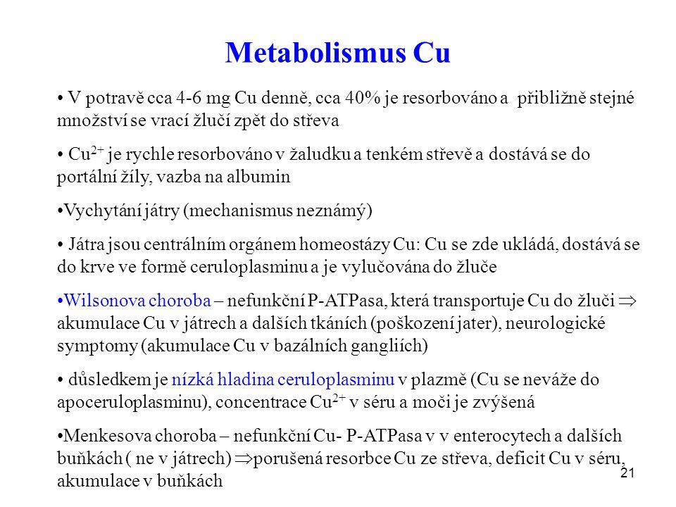 21 Metabolismus Cu V potravě cca 4-6 mg Cu denně, cca 40% je resorbováno a přibližně stejné množství se vrací žlučí zpět do střeva Cu 2+ je rychle resorbováno v žaludku a tenkém střevě a dostává se do portální žíly, vazba na albumin Vychytání játry (mechanismus neznámý) Játra jsou centrálním orgánem homeostázy Cu: Cu se zde ukládá, dostává se do krve ve formě ceruloplasminu a je vylučována do žluče Wilsonova choroba – nefunkční P-ATPasa, která transportuje Cu do žluči  akumulace Cu v játrech a dalších tkáních (poškození jater), neurologické symptomy (akumulace Cu v bazálních gangliích) důsledkem je nízká hladina ceruloplasminu v plazmě (Cu se neváže do apoceruloplasminu), concentrace Cu 2+ v séru a moči je zvýšená Menkesova choroba – nefunkční Cu- P-ATPasa v v enterocytech a dalších buňkách ( ne v játrech)  porušená resorbce Cu ze střeva, deficit Cu v séru, akumulace v buňkách