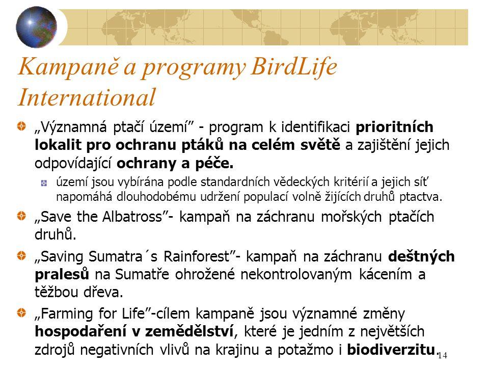"""Kampaně a programy BirdLife International """"Významná ptačí území - program k identifikaci prioritních lokalit pro ochranu ptáků na celém světě a zajištění jejich odpovídající ochrany a péče."""