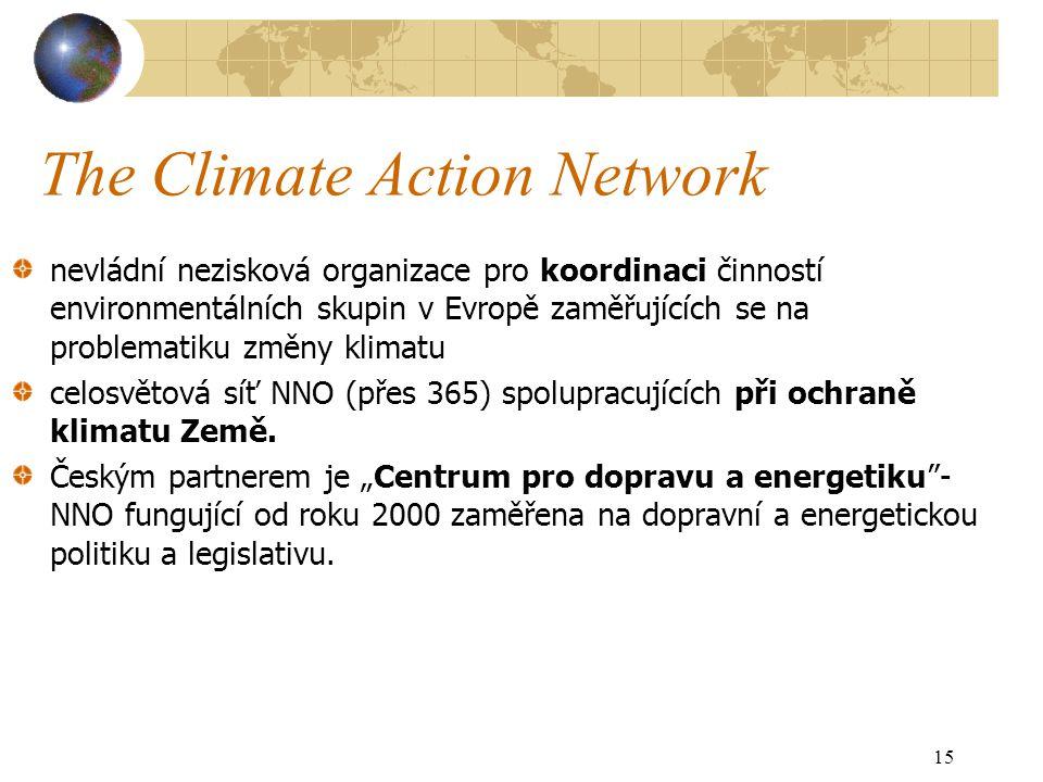 The Climate Action Network nevládní nezisková organizace pro koordinaci činností environmentálních skupin v Evropě zaměřujících se na problematiku změny klimatu celosvětová síť NNO (přes 365) spolupracujících při ochraně klimatu Země.