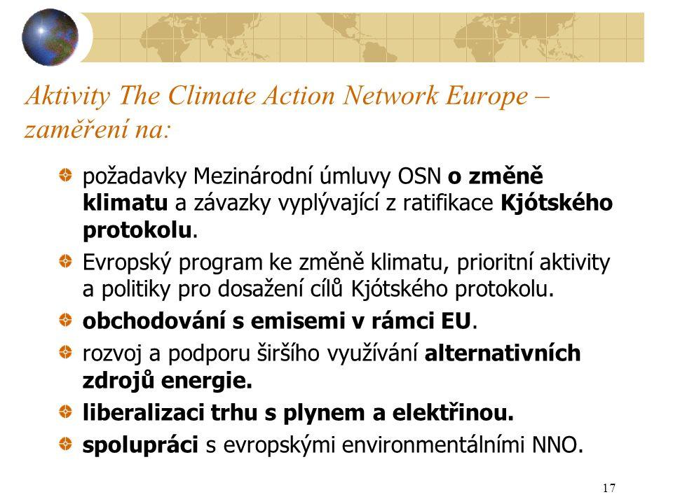 Aktivity The Climate Action Network Europe – zaměření na: požadavky Mezinárodní úmluvy OSN o změně klimatu a závazky vyplývající z ratifikace Kjótského protokolu.