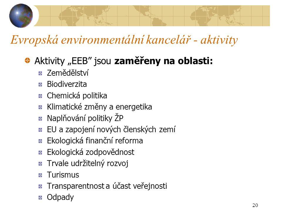 """Evropská environmentální kancelář - aktivity Aktivity """"EEB jsou zaměřeny na oblasti: Zemědělství Biodiverzita Chemická politika Klimatické změny a energetika Naplňování politiky ŽP EU a zapojení nových členských zemí Ekologická finanční reforma Ekologická zodpovědnost Trvale udržitelný rozvoj Turismus Transparentnost a účast veřejnosti Odpady 20"""