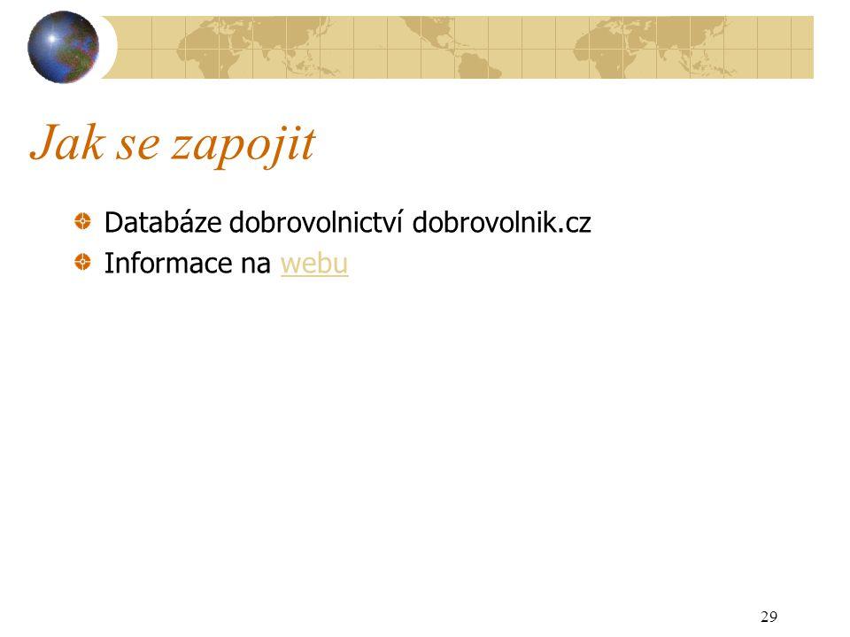 Jak se zapojit Databáze dobrovolnictví dobrovolnik.cz Informace na webuwebu 29