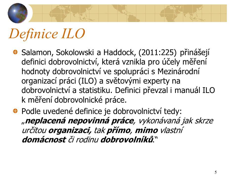 Definice ILO Salamon, Sokolowski a Haddock, (2011:225) přinášejí definici dobrovolnictví, která vznikla pro účely měření hodnoty dobrovolnictví ve spolupráci s Mezinárodní organizací práci (ILO) a světovými experty na dobrovolnictví a statistiku.