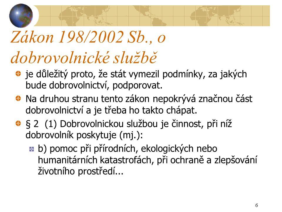 Zákon 198/2002 Sb., o dobrovolnické službě je důležitý proto, že stát vymezil podmínky, za jakých bude dobrovolnictví, podporovat. Na druhou stranu te