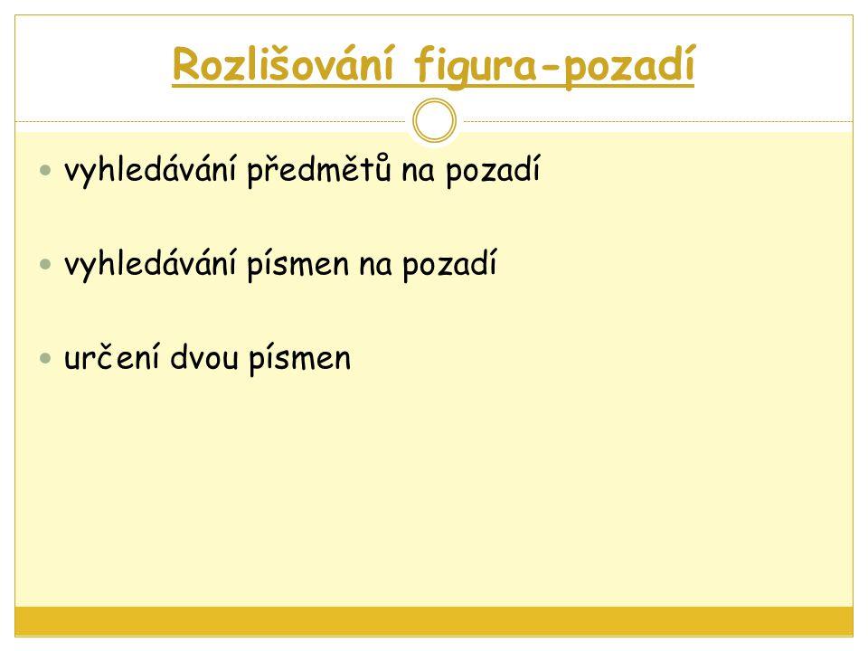 Rozlišování figura-pozadí vyhledávání předmětů na pozadí vyhledávání písmen na pozadí určení dvou písmen