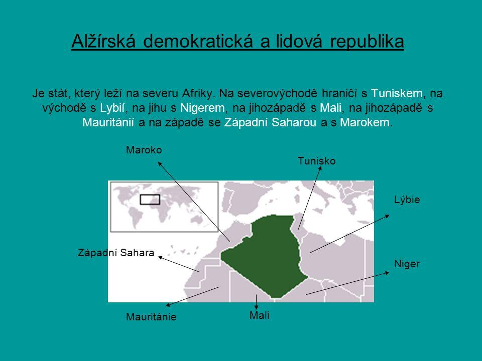 48 provincií Administrativní dělení: 48 provincií Národnostní složení : 79% arabové, 21% berberové Hlavní město : Alžír Úřední jazyk : arabština Náboženství : islám
