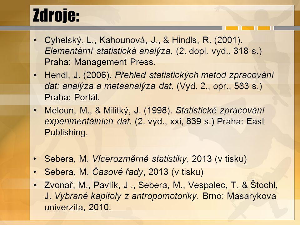 Zdroje: Cyhelský, L., Kahounová, J., & Hindls, R. (2001). Elementární statistická analýza. (2. dopl. vyd., 318 s.) Praha: Management Press. Hendl, J.