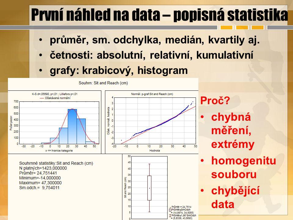 První náhled na data – popisná statistika průměr, sm. odchylka, medián, kvartily aj. četnosti: absolutní, relativní, kumulativní grafy: krabicový, his
