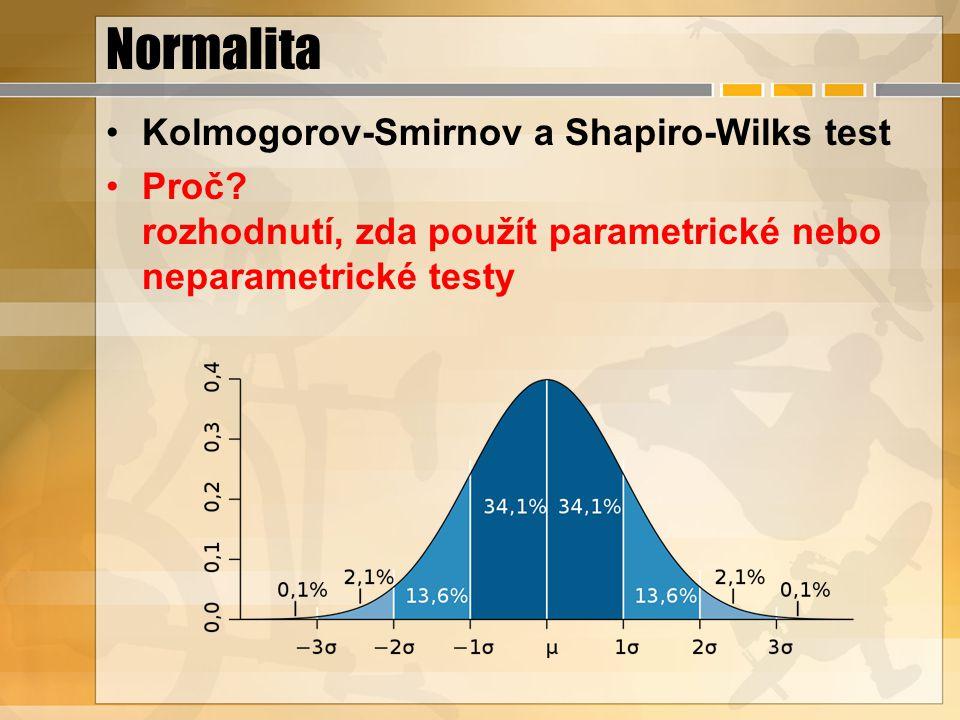 Normalita Kolmogorov-Smirnov a Shapiro-Wilks test Proč? rozhodnutí, zda použít parametrické nebo neparametrické testy