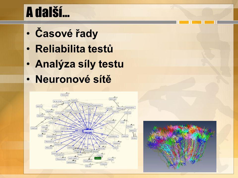 A další… Časové řady Reliabilita testů Analýza síly testu Neuronové sítě