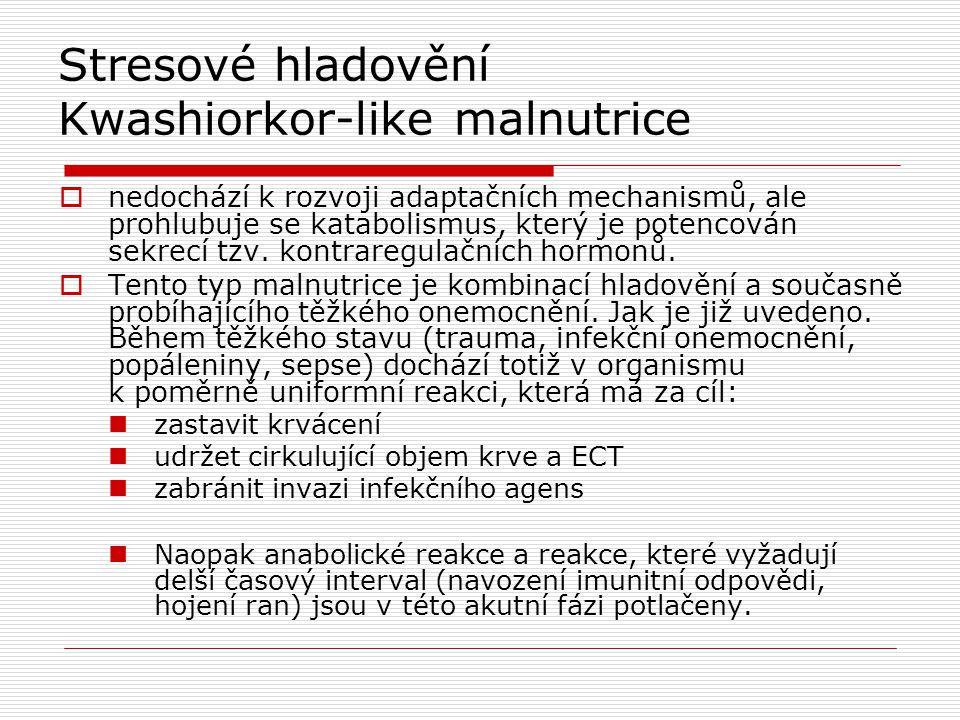 Stresové hladovění Kwashiorkor-like malnutrice  nedochází k rozvoji adaptačních mechanismů, ale prohlubuje se katabolismus, který je potencován sekre