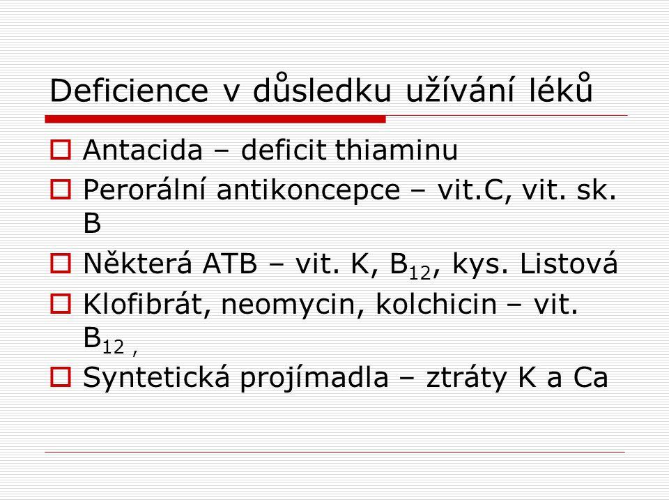 Deficience v důsledku užívání léků  Antacida – deficit thiaminu  Perorální antikoncepce – vit.C, vit. sk. B  Některá ATB – vit. K, B 12, kys. Listo