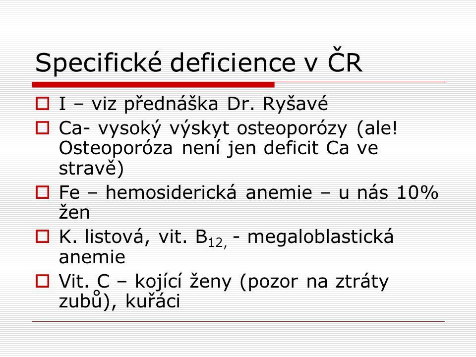 Specifické deficience v ČR  I – viz přednáška Dr. Ryšavé  Ca- vysoký výskyt osteoporózy (ale! Osteoporóza není jen deficit Ca ve stravě)  Fe – hemo
