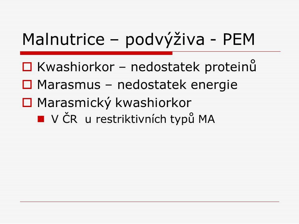 Malnutrice – podvýživa - PEM  Kwashiorkor – nedostatek proteinů  Marasmus – nedostatek energie  Marasmický kwashiorkor V ČR u restriktivních typů M