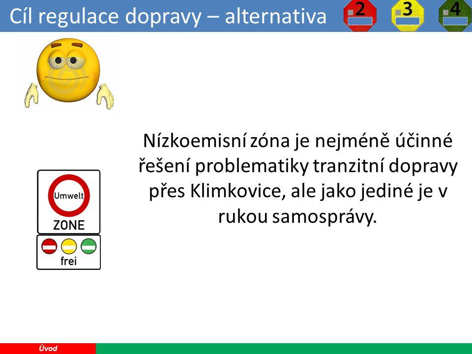 Cíl regulace dopravy – alternativa 11 Úvod Nízkoemisní zóna je nejméně účinné řešení problematiky tranzitní dopravy přes Klimkovice, ale jako jediné je v rukou samosprávy.