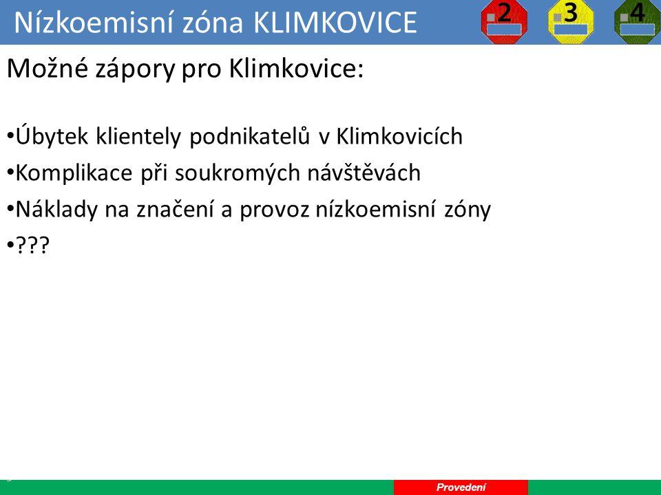 Nízkoemisní zóna KLIMKOVICE 13 Možné zápory pro Klimkovice: Úbytek klientely podnikatelů v Klimkovicích Komplikace při soukromých návštěvách Náklady na značení a provoz nízkoemisní zóny .