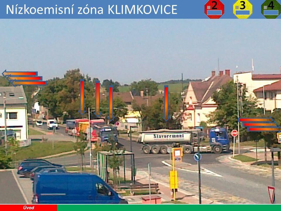 Nízkoemisní zóna KLIMKOVICE 13 Možné zápory pro Klimkovice: Úbytek klientely podnikatelů v Klimkovicích Komplikace při soukromých návštěvách Náklady na značení a provoz nízkoemisní zóny ??.