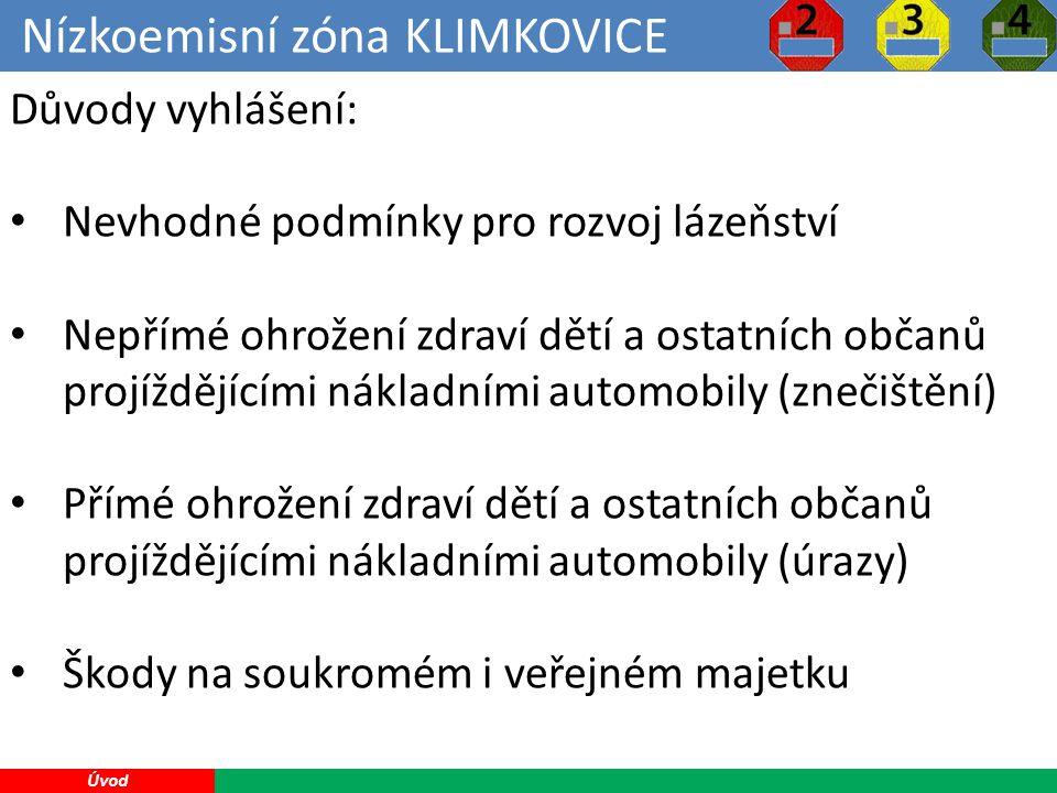 Nízkoemisní zóna KLIMKOVICE 5 Úvod Důvody vyhlášení: Nevhodné podmínky pro rozvoj lázeňství Nepřímé ohrožení zdraví dětí a ostatních občanů projíždějícími nákladními automobily (znečištění) Přímé ohrožení zdraví dětí a ostatních občanů projíždějícími nákladními automobily (úrazy) Škody na soukromém i veřejném majetku