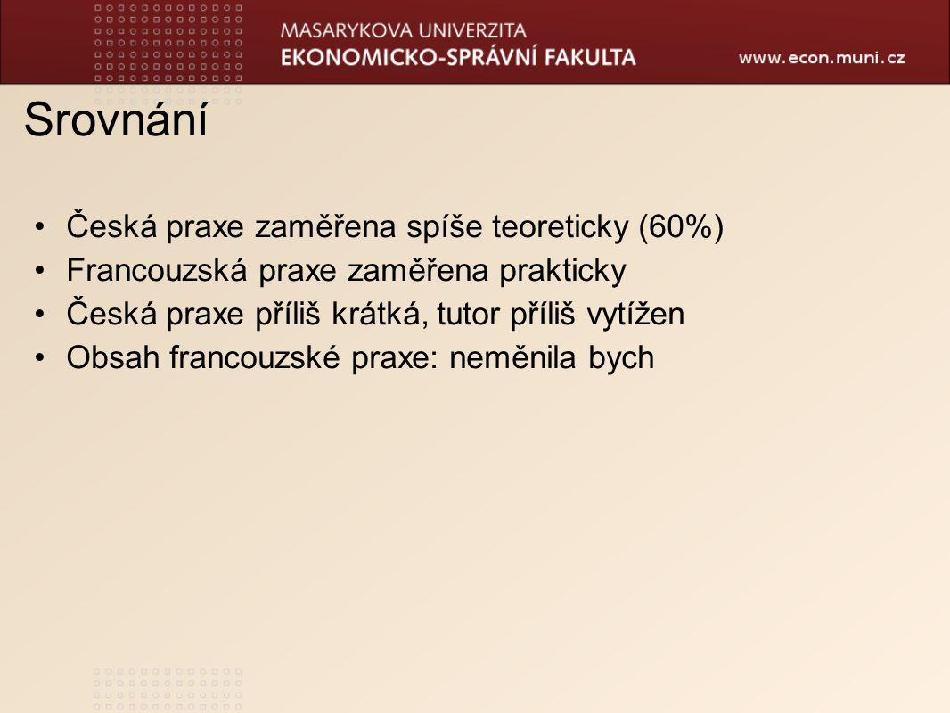 Srovnání Česká praxe zaměřena spíše teoreticky (60%) Francouzská praxe zaměřena prakticky Česká praxe příliš krátká, tutor příliš vytížen Obsah francouzské praxe: neměnila bych