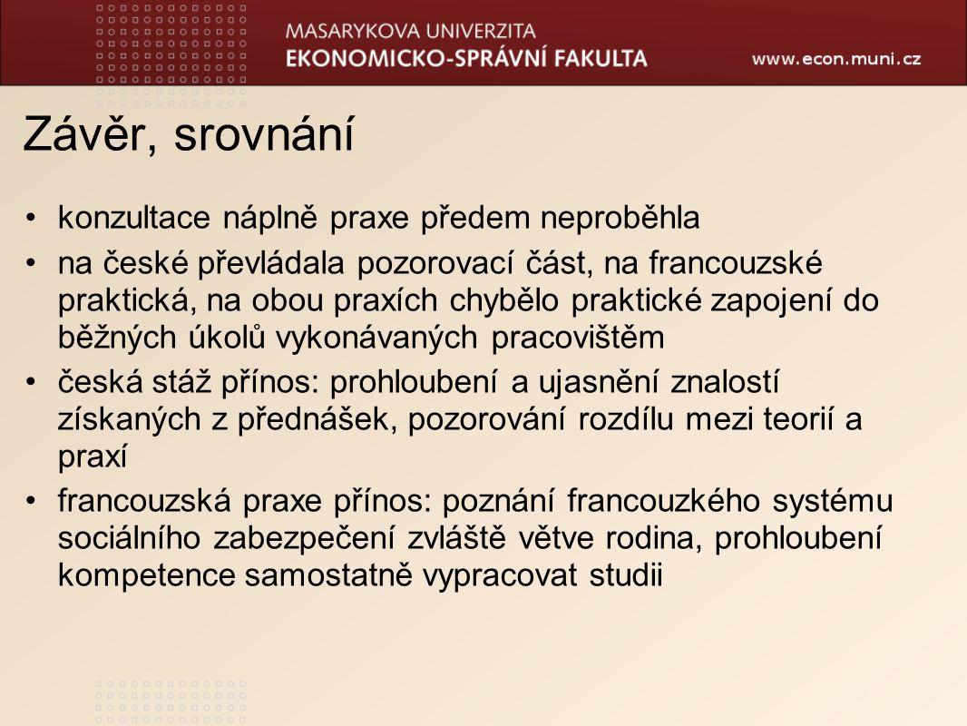 Závěr, srovnání konzultace náplně praxe předem neproběhla na české převládala pozorovací část, na francouzské praktická, na obou praxích chybělo praktické zapojení do běžných úkolů vykonávaných pracovištěm česká stáž přínos: prohloubení a ujasnění znalostí získaných z přednášek, pozorování rozdílu mezi teorií a praxí francouzská praxe přínos: poznání francouzkého systému sociálního zabezpečení zvláště větve rodina, prohloubení kompetence samostatně vypracovat studii