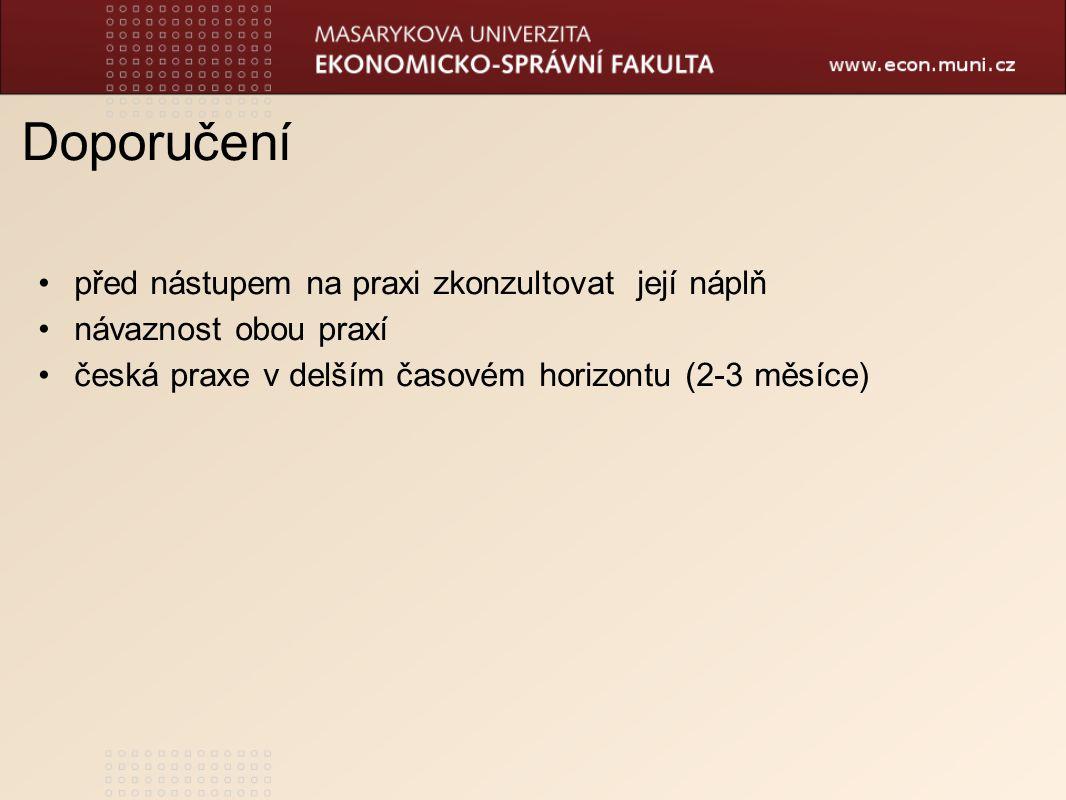 Doporučení před nástupem na praxi zkonzultovat její náplň návaznost obou praxí česká praxe v delším časovém horizontu (2-3 měsíce)