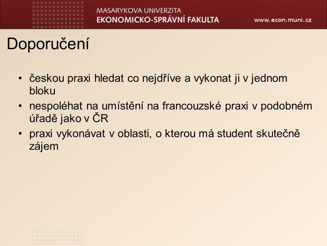 Doporučení českou praxi hledat co nejdříve a vykonat ji v jednom bloku nespoléhat na umístění na francouzské praxi v podobném úřadě jako v ČR praxi vykonávat v oblasti, o kterou má student skutečně zájem