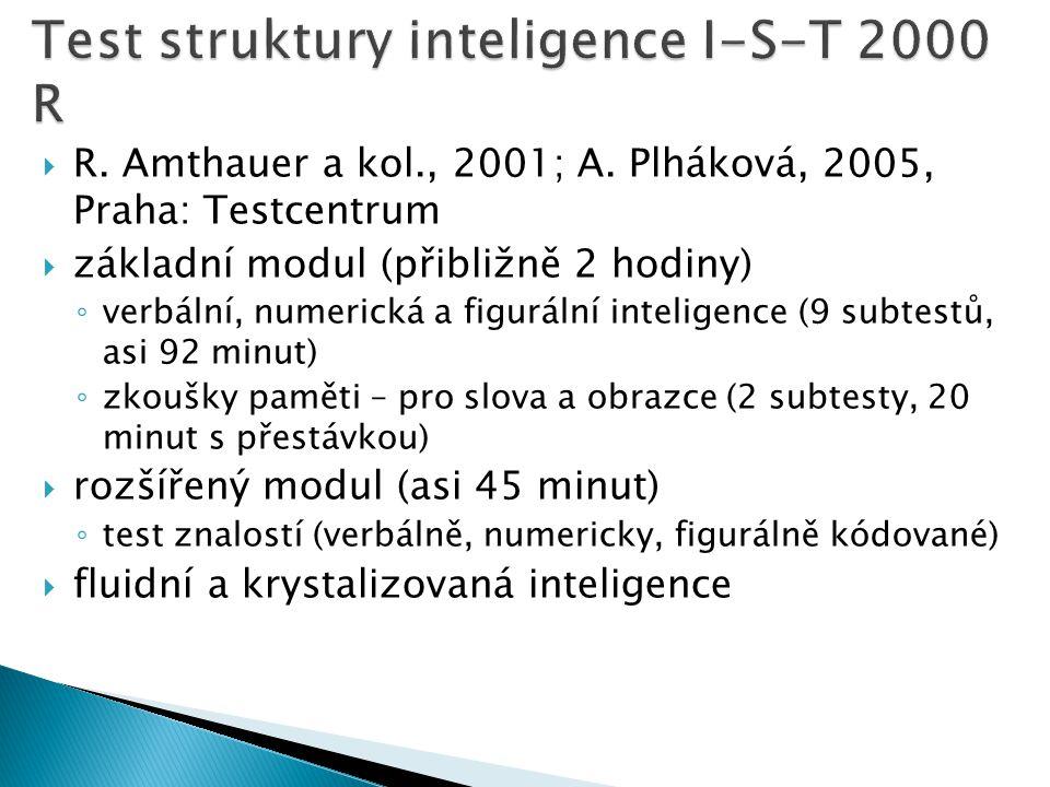  R. Amthauer a kol., 2001; A. Plháková, 2005, Praha: Testcentrum  základní modul (přibližně 2 hodiny) ◦ verbální, numerická a figurální inteligence