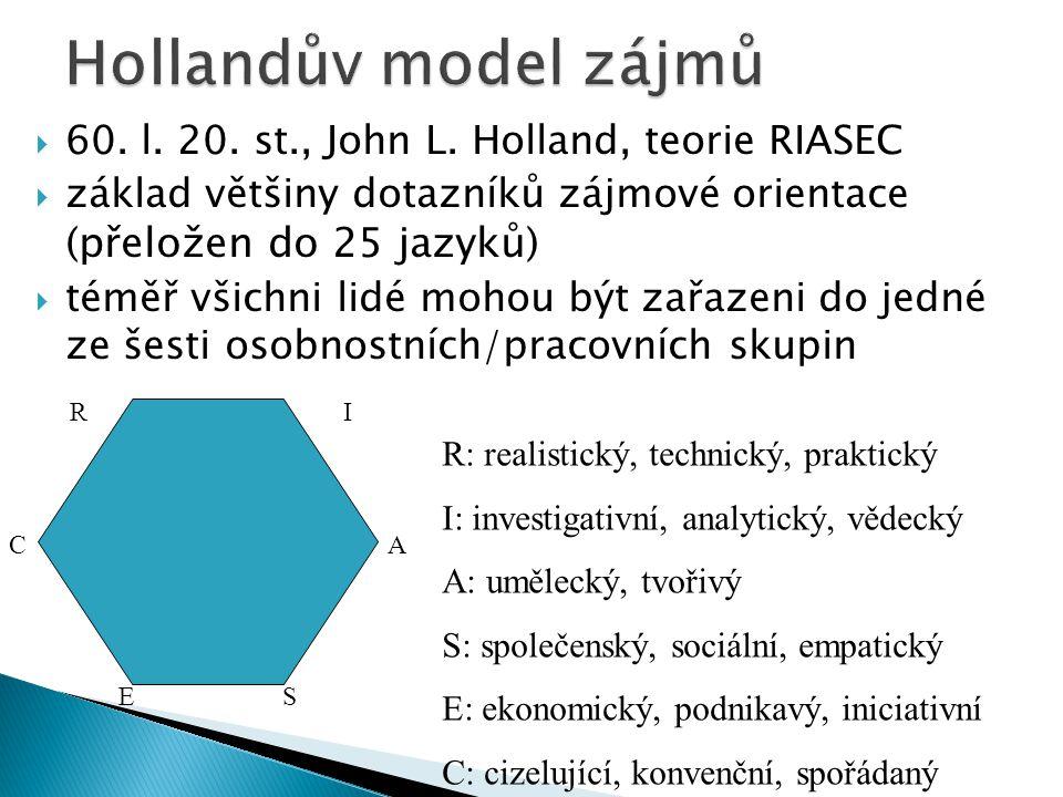  60. l. 20. st., John L. Holland, teorie RIASEC  základ většiny dotazníků zájmové orientace (přeložen do 25 jazyků)  téměř všichni lidé mohou být z
