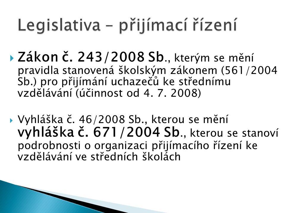 Zákon č. 243/2008 Sb., kterým se mění pravidla stanovená školským zákonem (561/2004 Sb.) pro přijímání uchazečů ke střednímu vzdělávání (účinnost od